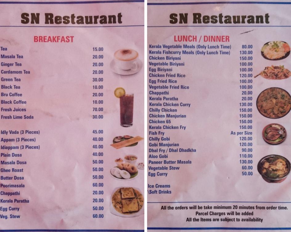 sn menu